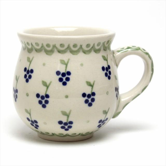 ポーランド食器 ポーリッシュポタリー マグカップ S 小 200ml K67-AW ブドウ ぶどう マヌファクトゥラ社 ボレスワヴィエツ陶器 東欧 北欧