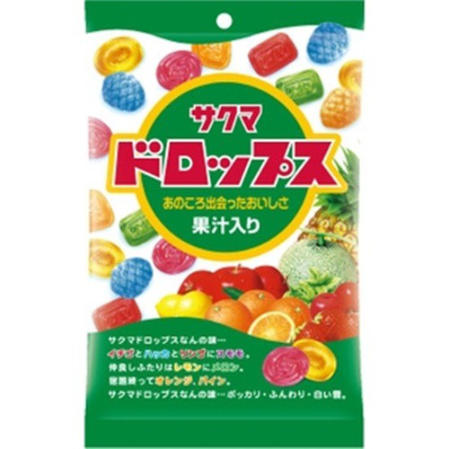【常温便】【10入り x 1】 サクマ 袋入りドロップス 110g