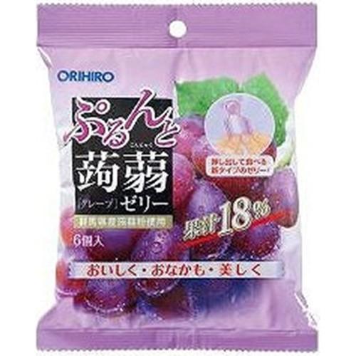 【常温便】【12入り x 1】 オリヒロ ぷるんと蒟蒻ゼリーパウチグレープ 6個