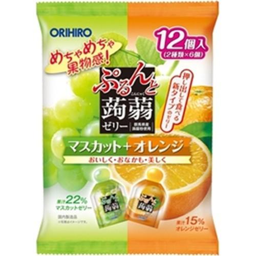 【常温便】【12入り x 1】 オリヒロ ぷるんと蒟蒻ゼリー マスカット+オレンジ【今月の特売 飲料】