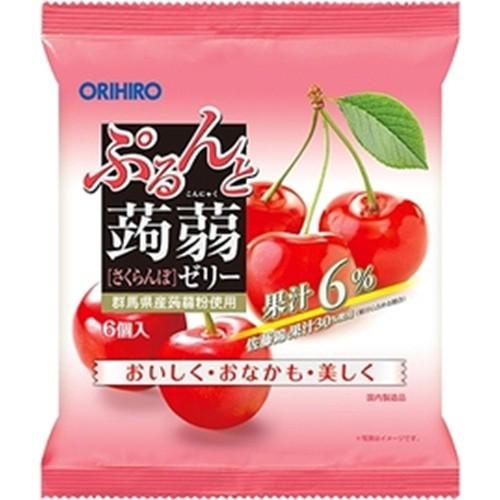 【常温便】【24入り x 1】 オリヒロ ぷるんと蒟蒻ゼリーパウチ さくらんぼ6個