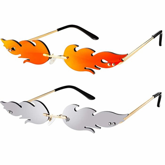 サングラス ファイヤーフレームサングラス フレーム縁なしサングラス 縁なしサングラス 縁なしウェーブグラス ファイヤーシェイプメガネ