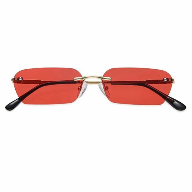 サングラス Vanlinker スクエア サングラス 縁なし サングラス スモール シェード UV400 VL9522E US サイズ: Oversized カラー: レッド