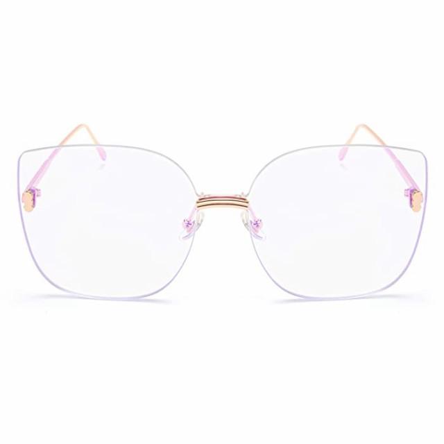 サングラス FEISEDY 特大スクエアサングラス 海色付き眼鏡 縁なしデザイン 女性用 B2613 カラー: パープル