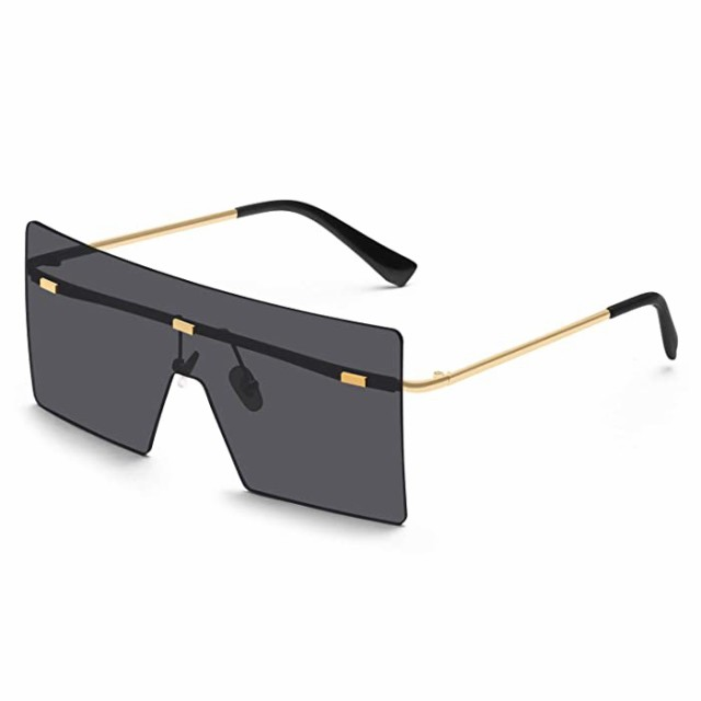 サングラス KUGUAOK オーバーサイズ 縁なしサングラス レディース ファッション フラットトップ スクエアシェード 100%UV保護 サングラス