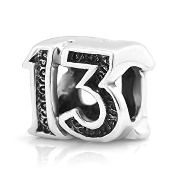 ブレスレット 925スターリングシルバーLucky # 13ビーズチャームフィットMajorブランドブレスレット