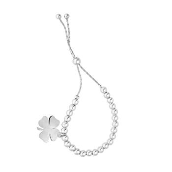 ブレスレット Finejewelers ロジウム9.25インチ 4つ葉のクローバーチャーム 調節可能な友情ブレスレット 引きひもクラスプ