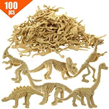 GIFTEXPRESS ミニ恐竜化石スケルトンフィギュア 100個入り 2.5インチ 恐竜スケルトン 恐竜骨詰め合わせ サイエンスプレイ恐竜 ケーキトッ