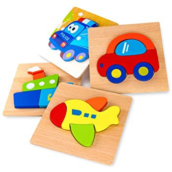 SKYFIELD 木製車両パズル 幼児用 1 2 3歳 男の子 女の子 知育玩具 4種類の乗り物パターン 明るく鮮やかな色の形状 カスタマイズギフトボ