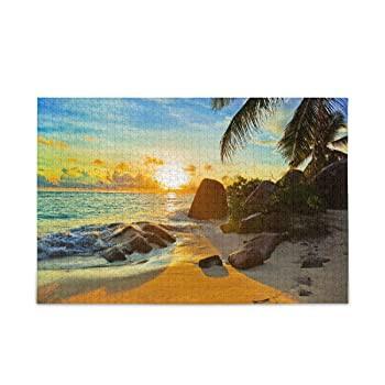 Oreayn ジグソーパズル 子供用 大人用 1000ピース トロピカルビーチ 夕暮れ時の風景 仕上げサイズ 29.5インチ x 19.7インチ