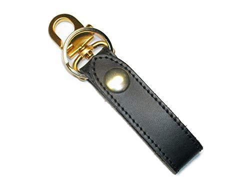 キーホルダー ベルトループ おしゃれ 革 レザー ブランド メンズ キーリング ゴールド 日本製 黒色 ブラック