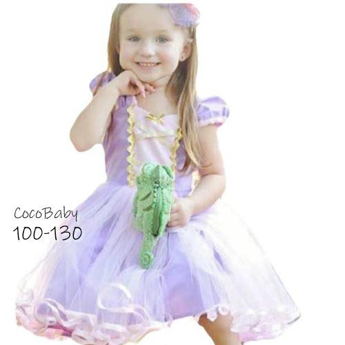 プンツェル ドレス 子供 ラプンツェル コスチューム ワンピース 子供 なりきりプリンセス 綿100% ハロウィン 仮装 子供 女の子 ハロウィ