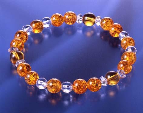 爆裂黄水晶 昇運ブレス [ ブレスレット 腕 メンズ レディース 水晶 天然石 金運 パワーストーン 開運 おしゃれ 華麗 ゴージャス 黄色