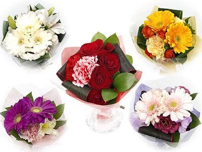 プチハート(花瓶付きミニブーケ) フラワーギフト 花束 誕生日 記念日 プレゼント カラフルブーケ