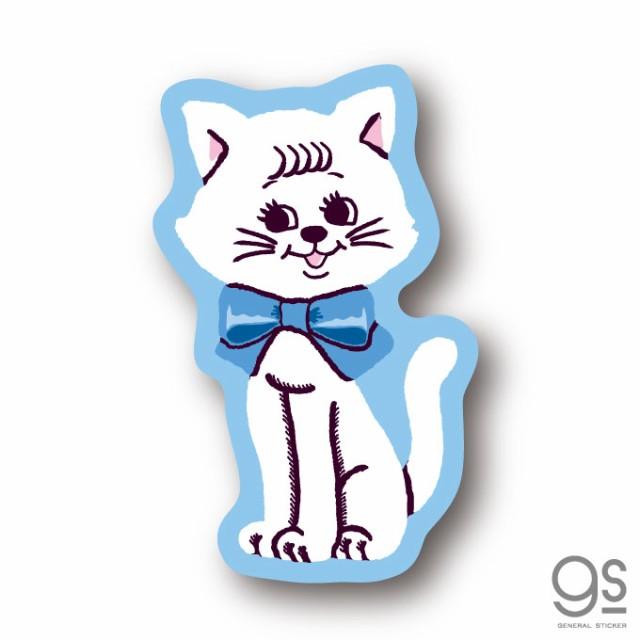 SWIMMER 白猫 リボン ミニステッカー キャラクターステッカー スイマー ブランド イラスト かわいい パステル レトロ 雑貨 SWM019 公式