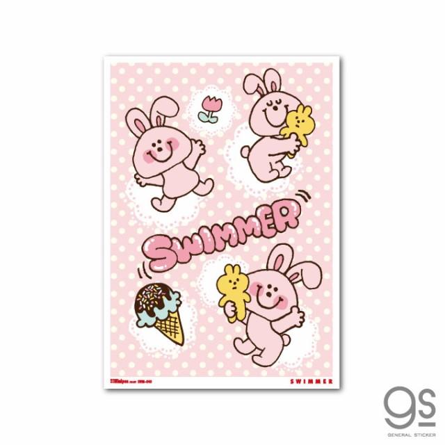 SWIMMER うさぎ ドット ミニポスター キャラクター B5サイズ スイマー かわいい パステル レトロ インテリア雑貨 SWM040 公式