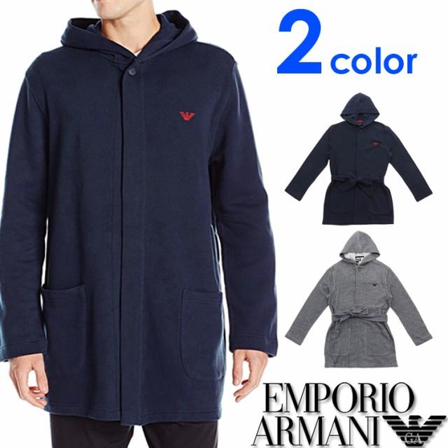 [送料無料] EMPORIO ARMANI エンポリオアルマーニ メンズ ドレッシング ガウン 2色展開 バスローブ ナイトガウン ナイトウエア[紺 グレー