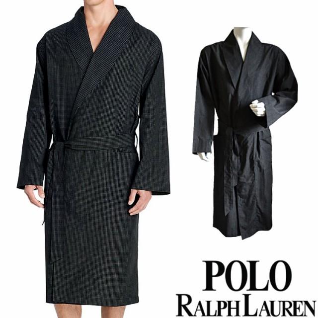 [¥5000以上で¥1000オフ] POLO RALPH LAUREN ポロ ラルフローレン コットン バスローブ メンズ チェック[黒 チェック柄 ギンガムチェッ