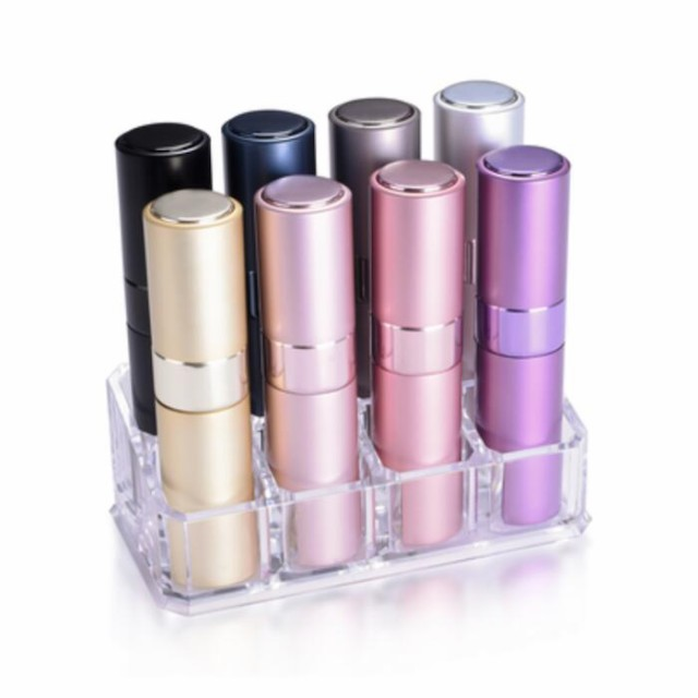 BLUSH ブラッシュ アトマイザー 全8色セット(スタンド付) 香水ボトルから直接入れ替えできるツイストアップ・キャップレス 香水アト