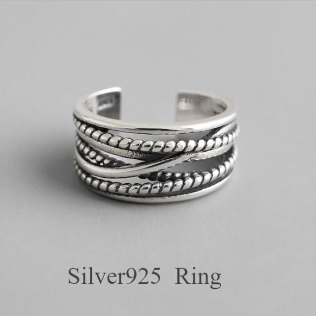 【Silver925★送料無料★フリーサイズ★新作】silver925 シルバー リング 指輪 レディース レイヤード 太 幅広 デザインリング おし