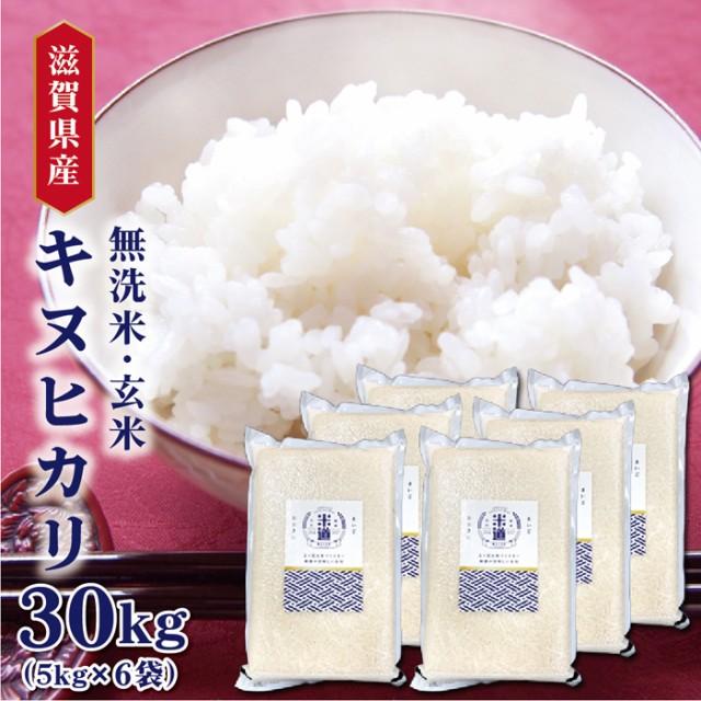 米 30kg 送料無料 30キロ キヌヒカリ 滋賀県産 お米 令和二年産 玄米 白米 ごはん 無洗米 一等米 単一原料米 保存食 真空パック 保存米
