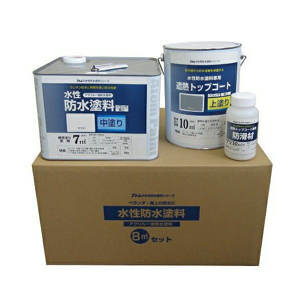 アトムハウスペイント:水性防水塗料8m2セット 既設防水FRP防水下地塗り替え用(中塗りホワイト/上塗りグレー)
