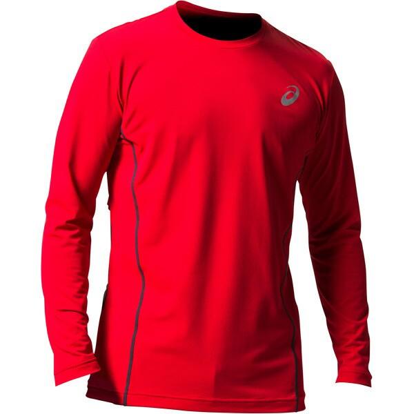アシックス:ウィンジョブ ロング スリーブシャツ(空調服専用インナー) 600(クラシックレッド×ダークグレー) L 2271A008