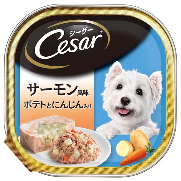 マースジャパンリミテッド:シーザー サーモン風味 ポテトとにんじん入り 100g 犬 フード ウェット トレー トレイ 一般食 CE36N