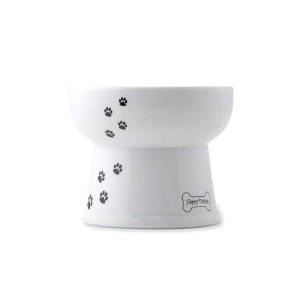 猫壱:ハッピーダイニング 脚付ウォーターボウル 犬柄犬用 シリコン付き 犬 食器 皿 陶器 すべりどめ 滑り止め すべり止め 水