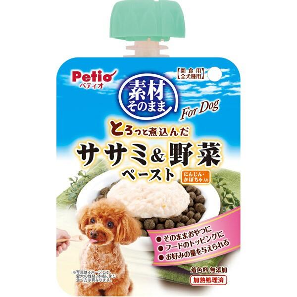 ペティオ:素材そのまま とろっと煮込んだ ササミ&野菜 ペースト For Dog 90g 犬用 おやつ トッピング レトルト ペースト 鶏 野菜