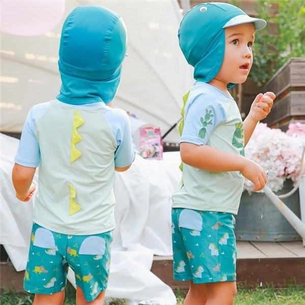 水着 セパレート キッズ 3点セット 男の子 ラッシュガード 上下セット スイムキャップ 半袖 ハーフパンツ 帽子付 uvカット 子供