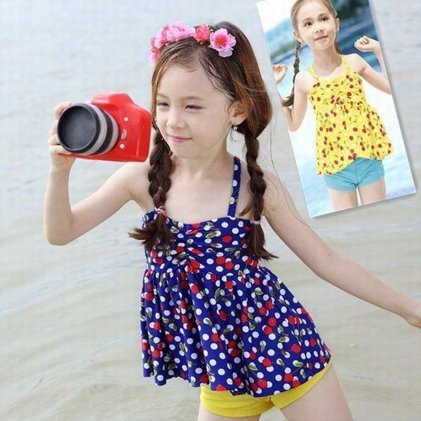 キッズ 子供水着 セパレート スイムウェア トップス+ショーツパンツ 女の子 さくらんぼ柄 チェリー柄 ベビー 水泳