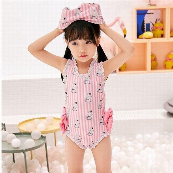水着 キッズ ベビー服 女の子 リボン フリル かわいいリボン ピンクスイムウェア 子供用 こども 女児 プール 海 水遊び
