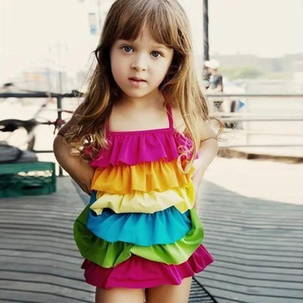 女の子 ワンピース型水着 キッズ 子供用 幼稚園 通学 プール 海 ビーチ ワンピース ガールズ ドレススク フリル カラフル スクール