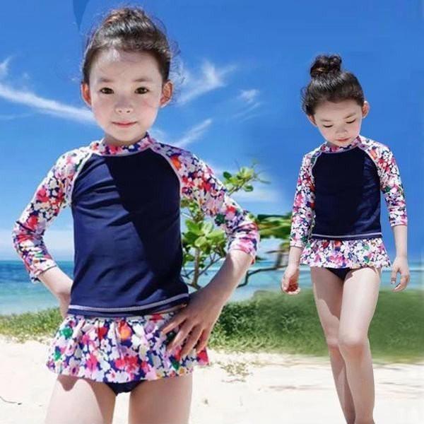 水着 キッズ 子供 日焼け止め 長袖 セパレート 女の子 花柄 2点セット 女児 ベビー ガールズ 水泳 みずぎ 水遊び 温泉 ジム プール ビー
