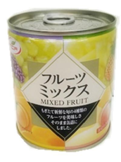 【送料無料】フルーツミックス缶詰 白桃、黄桃、パイナップル、ぶどうの4種類のミックスフルーツ缶 312g×24個