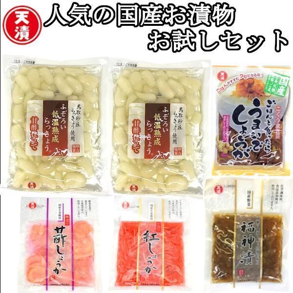【送料無料】国産お漬物お試し6袋セット (らっきょう 紅しょうが ガリ 福神漬け 甘酢漬け) 小袋 小分けサイズ
