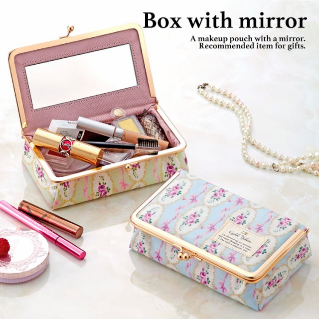 ポーチ 化粧ポーチ がま口 ミラー付き ボックス 鏡付き コスメポーチ メイクポーチ かわいい オシャレ 花柄 リボンローズ BOX