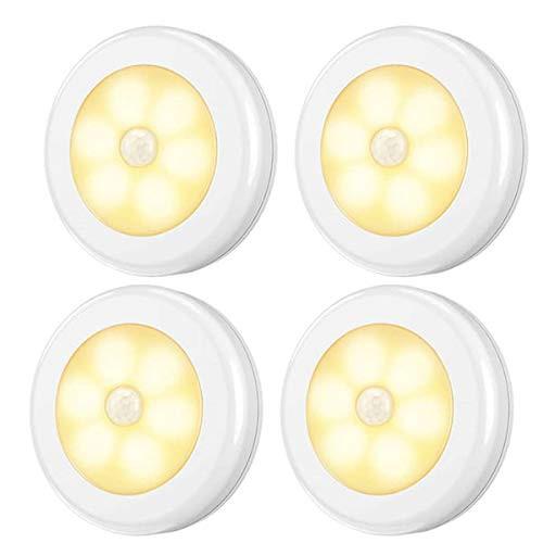 送料無料4個セット センサーライト 室内 屋内 人感 丸形 階段ライト 玄関ライト センサー LED 廊下 電池式 フットライト LSF-03_4