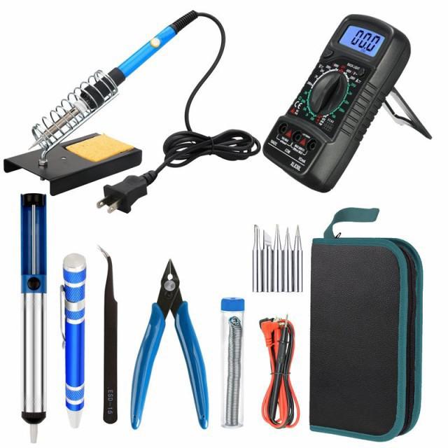 はんだごてセット 11-in-1 デジタルマルチメータ付 スイッチ付 電子作業・電気DIY用温度調節可(200〜450℃) 工作にはオススメ 60W/110V