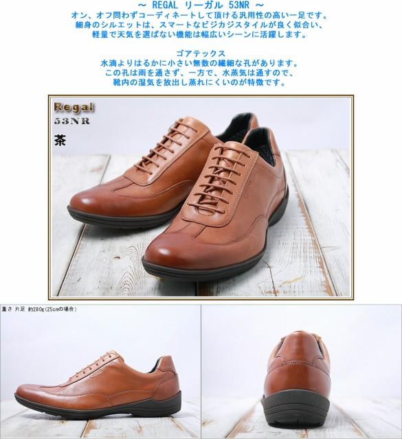 リーガル ゴアテックス 53NR 幅2E 茶 ブラウン REGAL メンズ用 GORE-TEX ゴアテックス 防水 ドライビング シューズ 靴 23.5-27cm