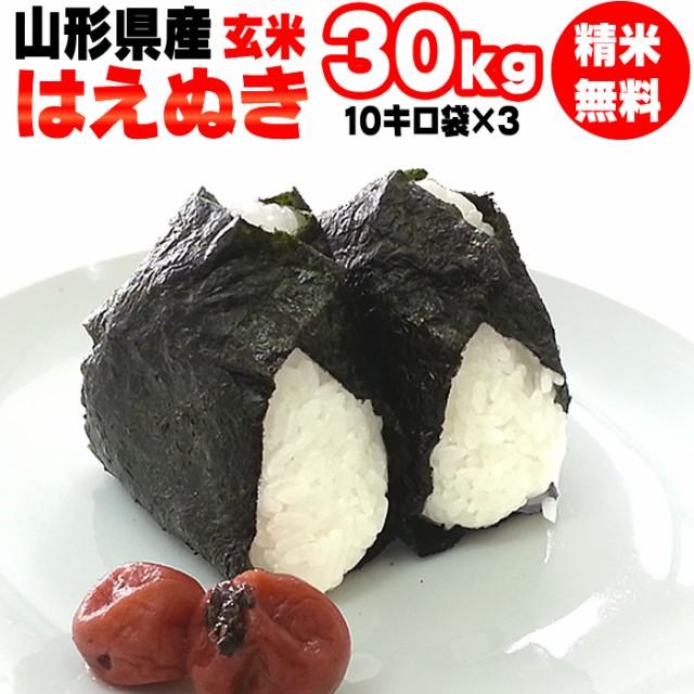 【送料無料】 令和2年度産 山形県産 お米 はえぬき 玄米 30kg (10kg×3袋)【白米・無洗米・分づき】