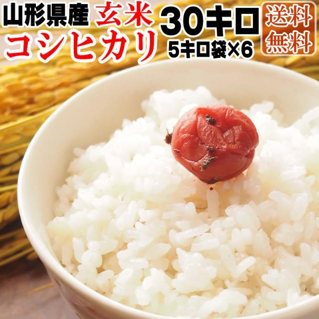 米 お米 30kg (5kg袋×6) コシヒカリ 令和2年度産 山形県産 送料無料 白米・無洗米・分づき