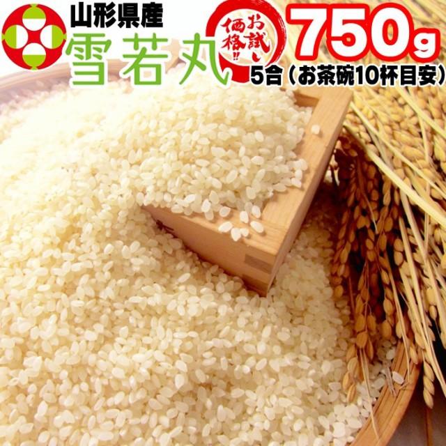 ポイント消化 米 お米 雪若丸 750g (5合) ゆきわかまる 令和2年産 山形県産 白米 無洗米 分づき 玄米送料無料 真空パック メール便