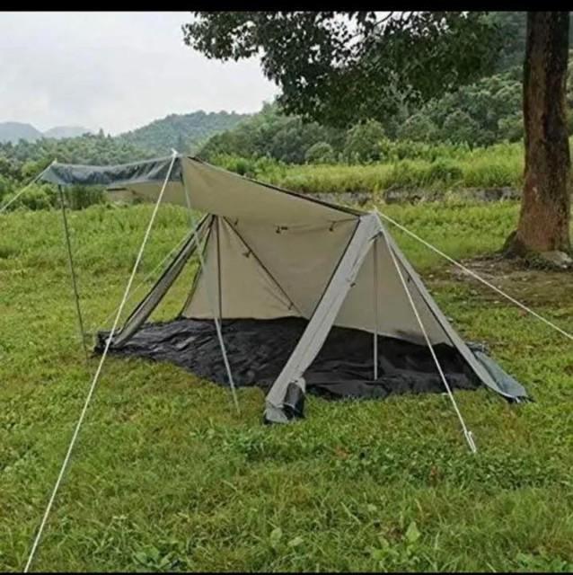 軍幕テント ポリコットン 防水加工有り グランドシート 皮手袋付き アウトドア キャンプ ソロ 薪割り 1年保証