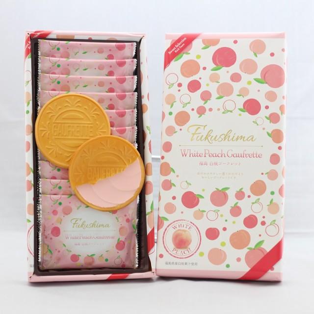 【白桃 ゴーフレット】(10枚入)福島県産白桃果汁使用♪お土産にも最適な個包装です。まざっせこらっせ ふくしま 桃 もも はくとう