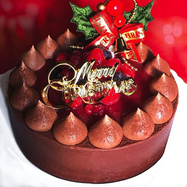 クリスマスケーキ 予約 2020 Xmas チョコレートケーキ with Crimson berry 14cm【プレート・キャンドル・ヒイラギ付】お取り寄せ チョコ