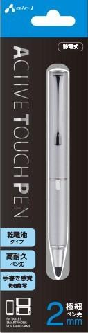 【10倍】 乾電池式 タッチペン [ペン先 超極細 2mm] iPhone smartphone スマートフォン スマホ ポータブルゲーム機 ブラック