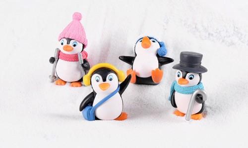 冬服装ペンギン4個セット 動物フィギュア テラリウム フィギュウア ミニフィギュア コケリウム 箱庭 アクアリウム イベント プレゼント