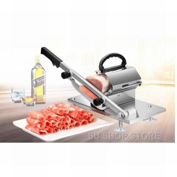 家庭用 野菜 肉 半自動ミートスライサー 業務用 自動送り出し手動肉切り機 冷凍肉スライス オールステンレス鋼
